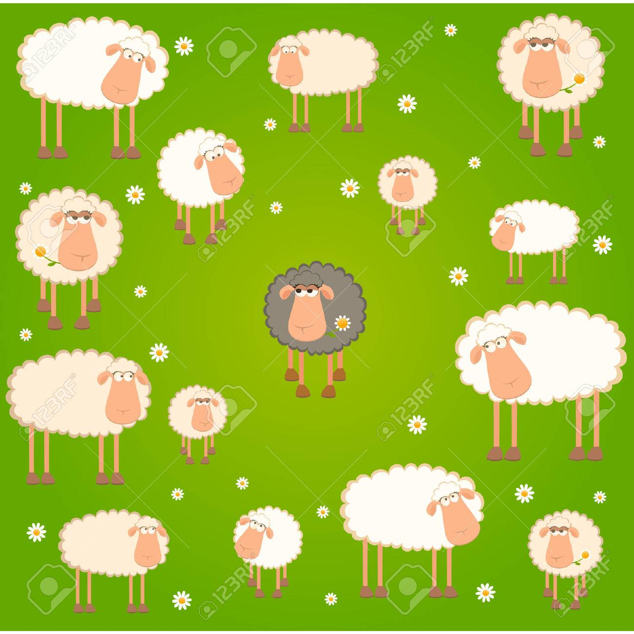 Landscape background with cartoon sheep Stock Vector - 8517248