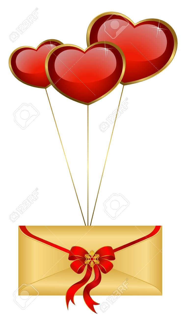 Celebratory envelope with red hearts Stock Photo - 8556938