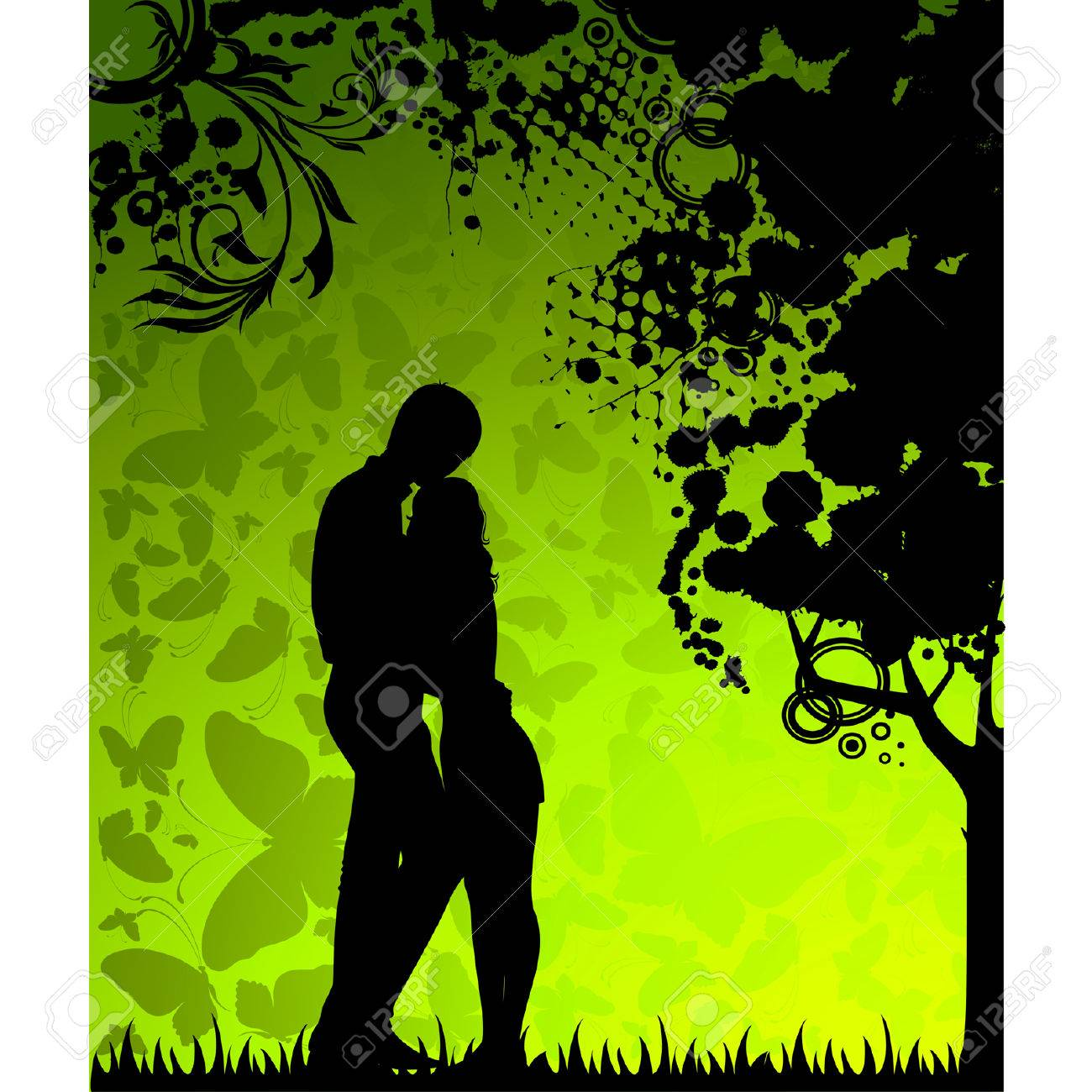 silhouette of lovers on a background with butterflies Stock Vector - 8608357