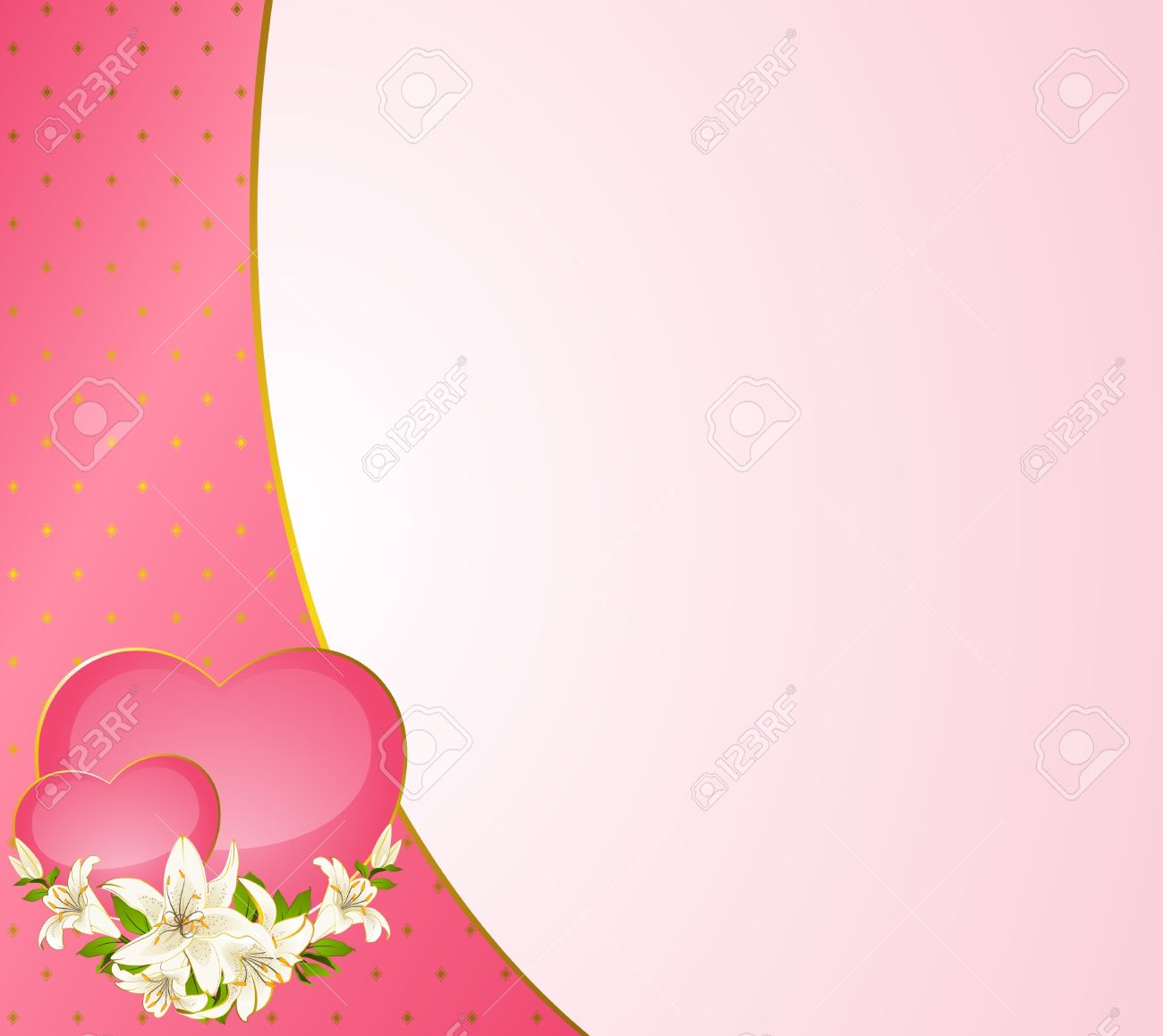 Wedding background card - invitation with hearts and flowers Stock Photo - 8888545