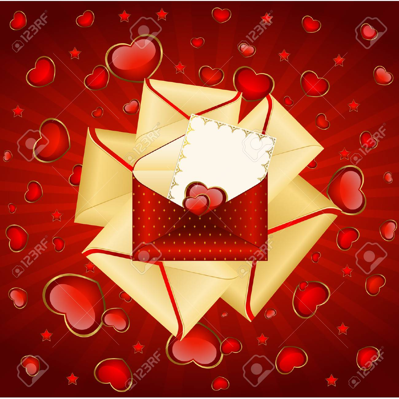 Celebratory envelopes with red hearts Stock Vector - 9089564