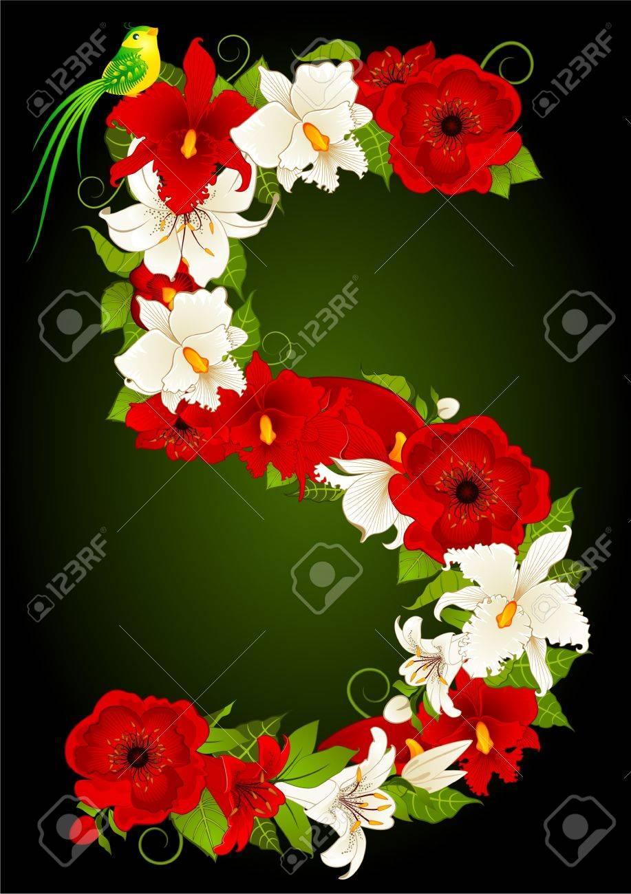 illustration of floral five symbol Stock Illustration - 9368735