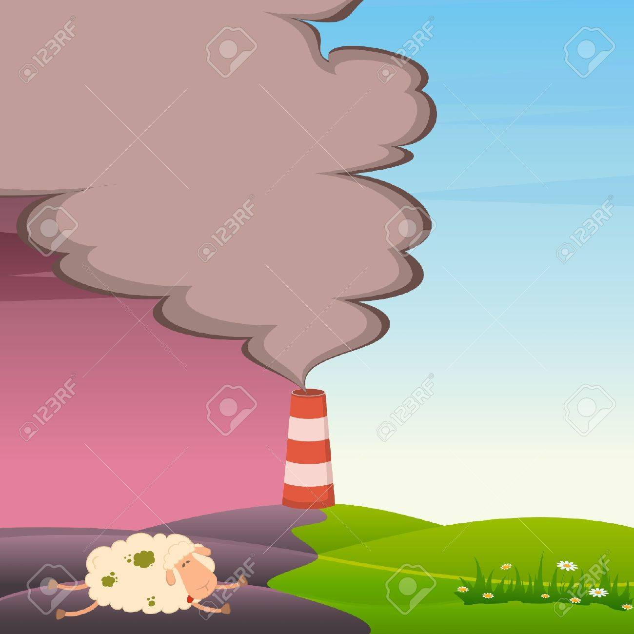 Vector dead sheep and factory is contaminated by atmosphere Stock Vector - 9876980