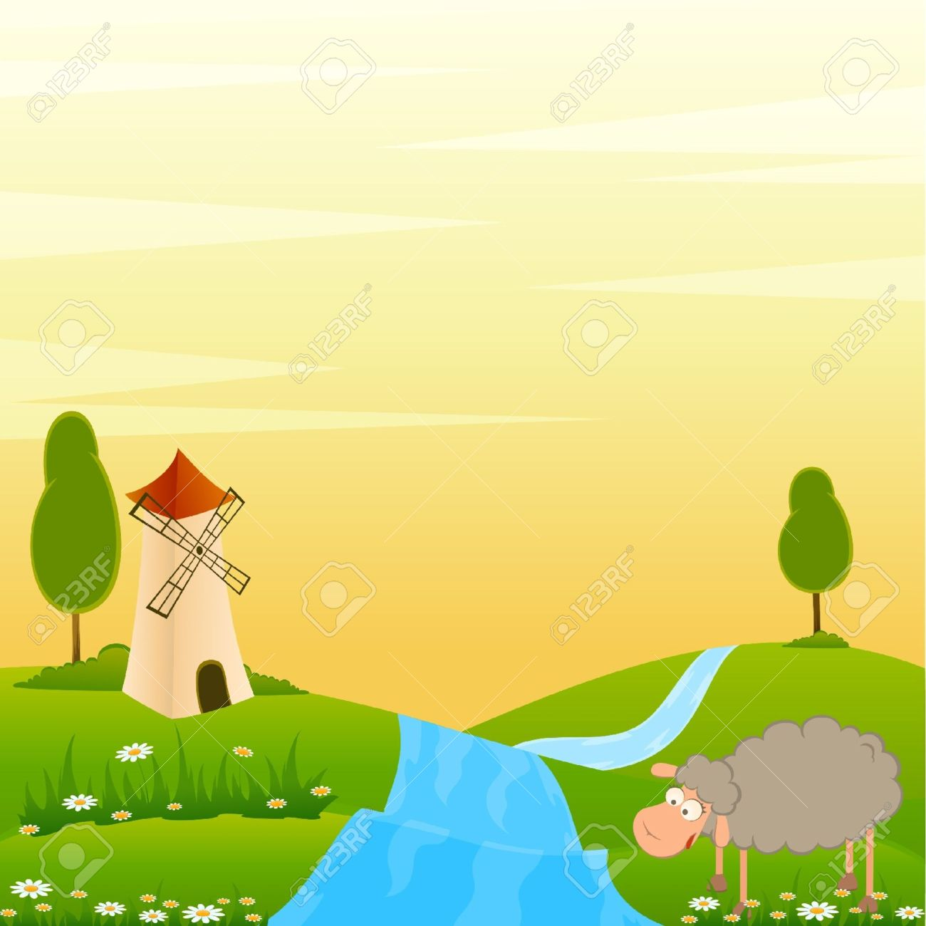 Vector Landscape background with house and cartoon sheep Stock Vector - 9876732