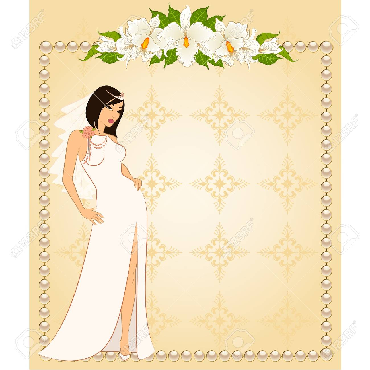 Beautiful bride in white dress. Vector Stock Vector - 9869571