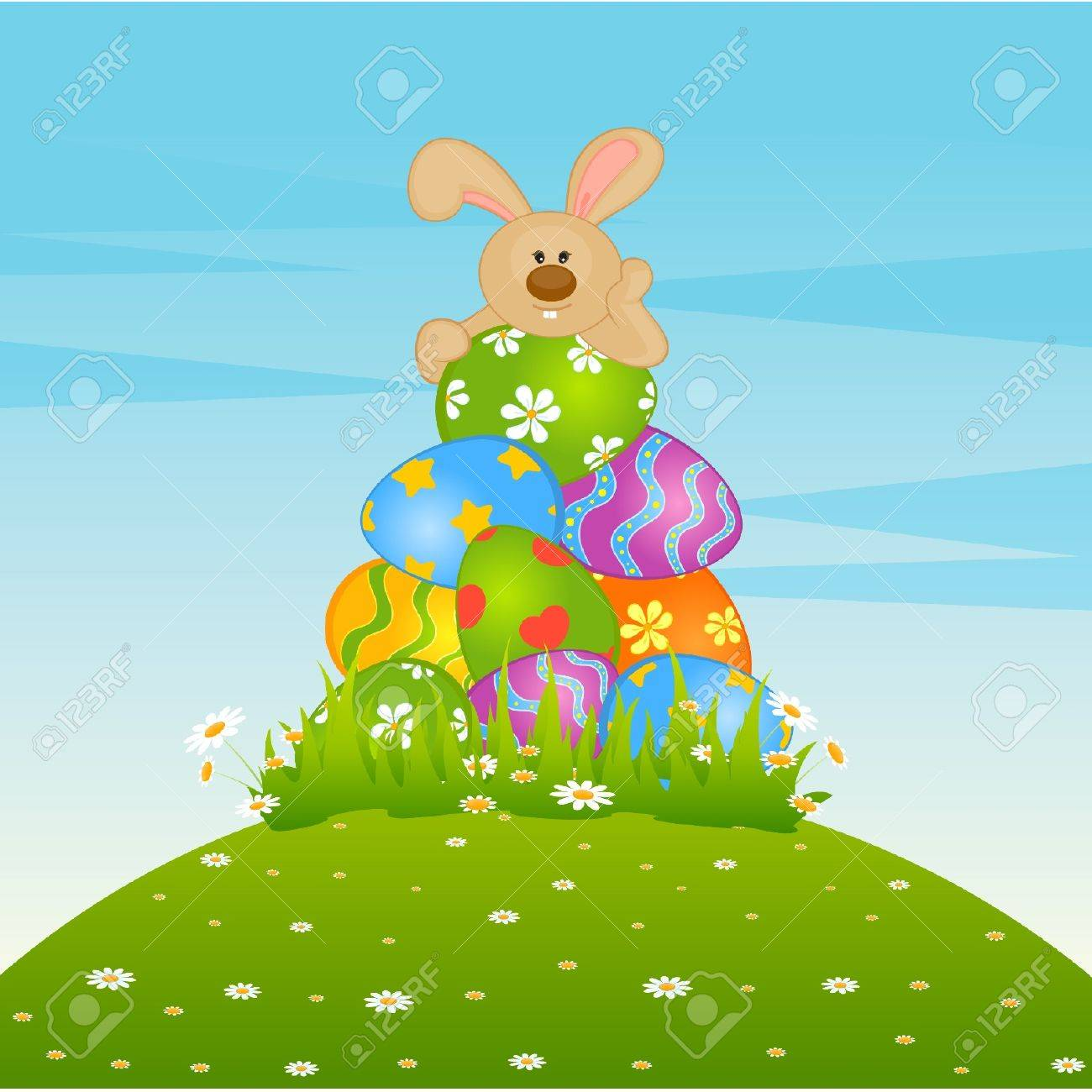 Set of Easter Bunnies with colored eggs. Easter card Stock Vector - 9871946