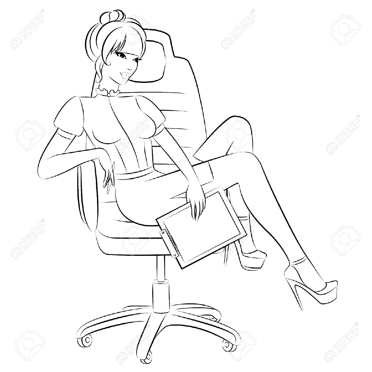 Beautiful business women sits in a chair in office Stock Vector - 10531075