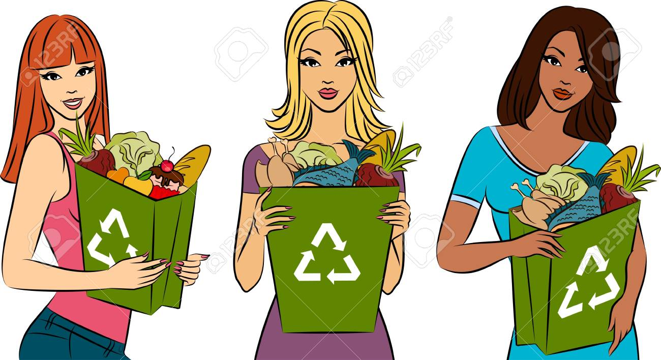 Girl with a shopping bag filled with healthy meal ingredients. Stock Photo - 11104083