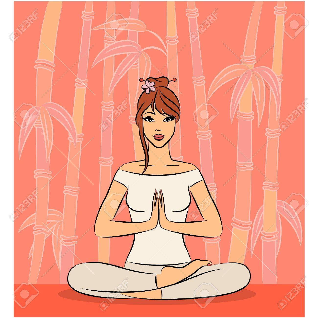 Beautiful woman sitting in yoga lotus position. Vector illustration Stock Vector - 11278211