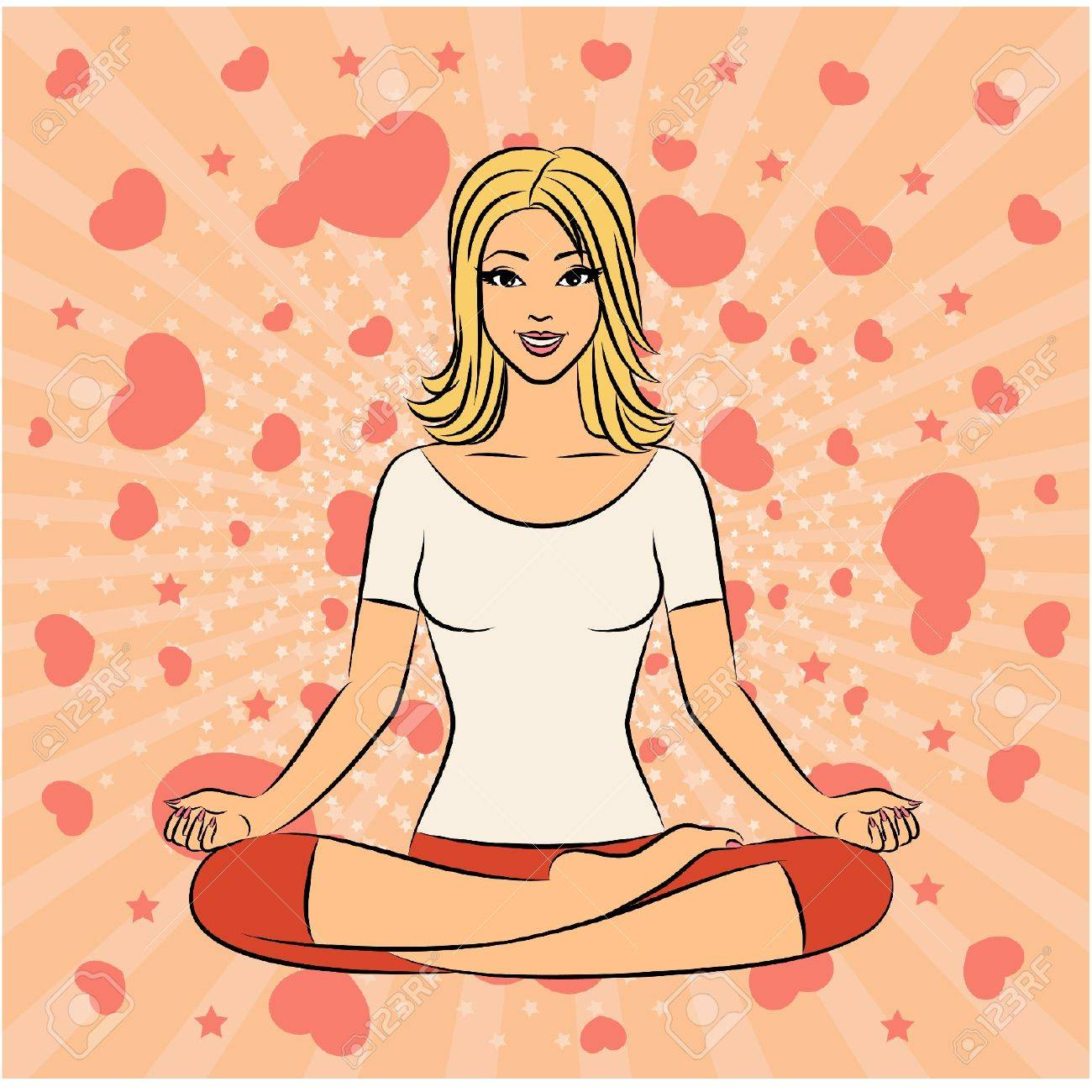 Beautiful woman sitting in yoga lotus position. Vector illustration Stock Vector - 11278210