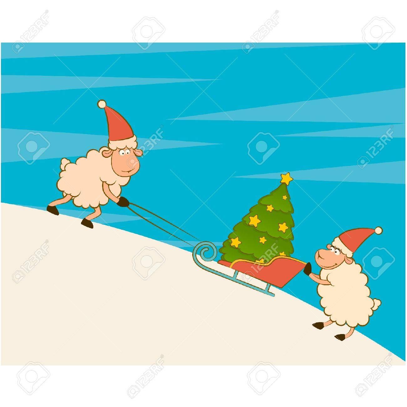 Cartoon funny sheep heaves up sledges with fir-tree. Vector illustration Stock Vector - 11277726