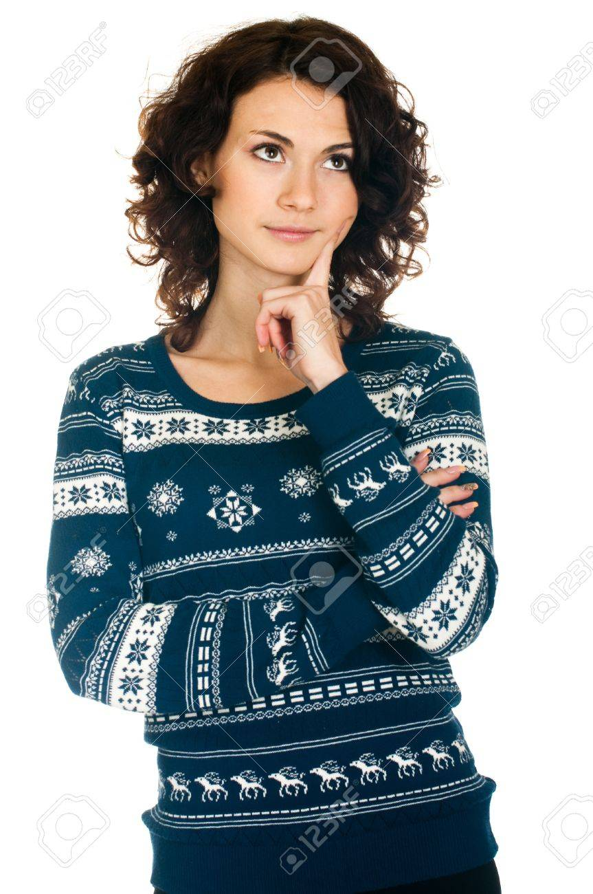 Beautiful  girl in Christmas sweater on white background Stock Photo - 11656075
