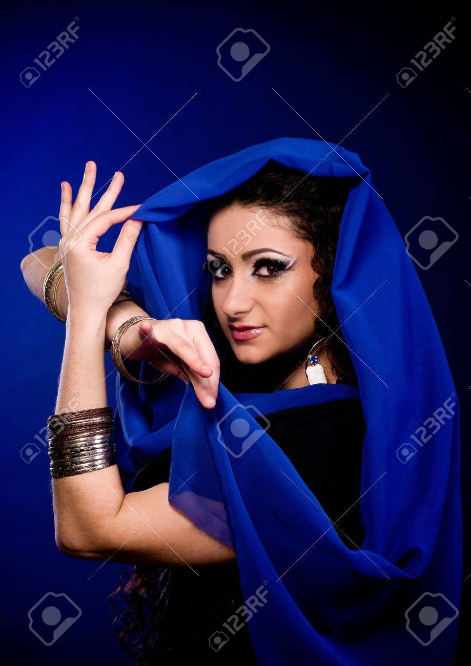 Beautiful young woman in color arabian clothes Stock Photo - 12522036