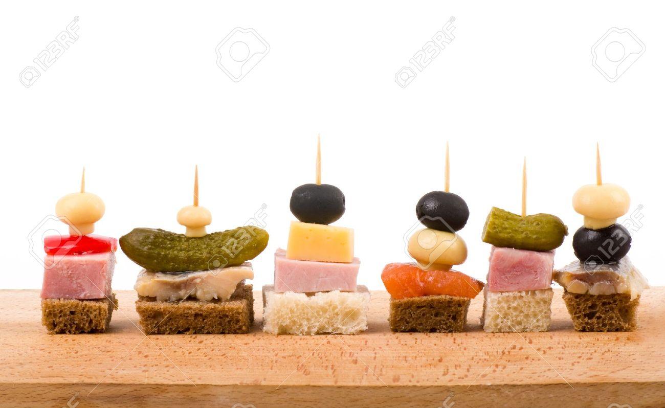 Set of tasty canape on a white background Stock Photo - 12560572