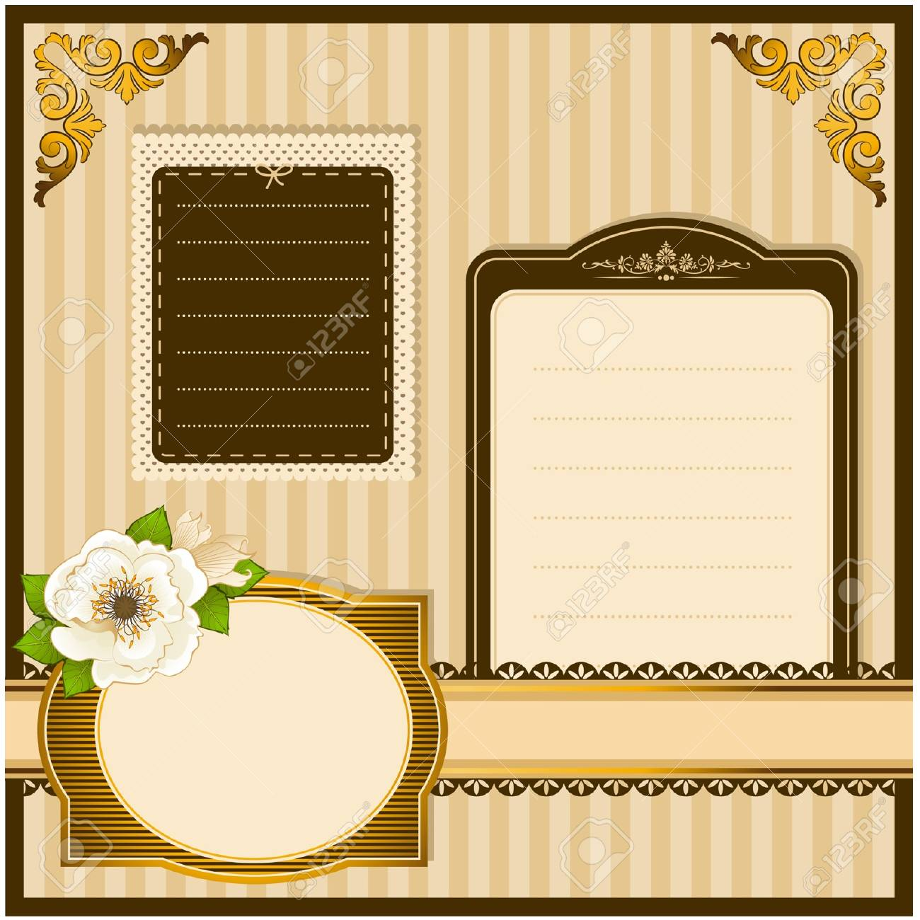 Vintage Flowers with lace ornaments on background Stock Vector - 12986915