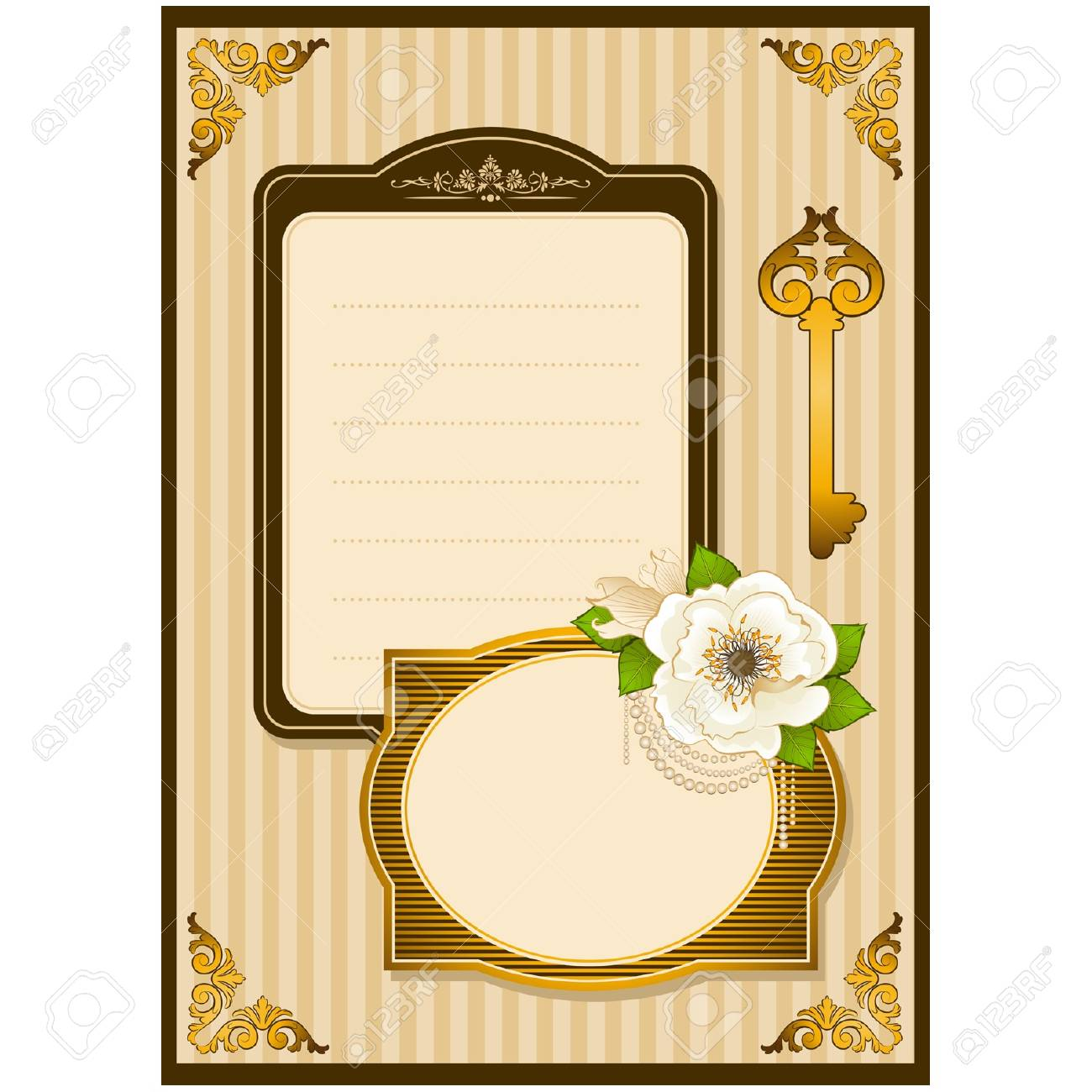 Vintage Flowers with lace ornaments on background Stock Vector - 12986910
