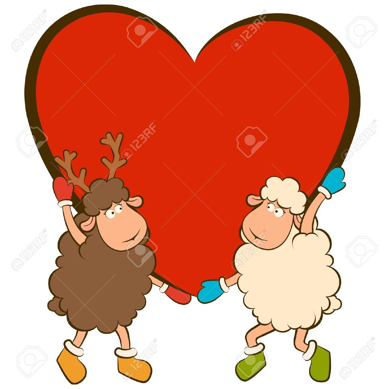cartoon funny sheep holds a heart Stock Vector - 12986880