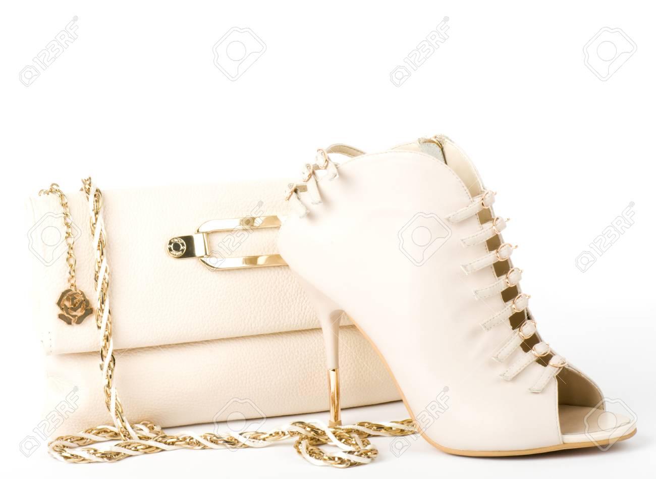 Sexy fashionable shoe and handbag isolated Stock Photo - 13236141