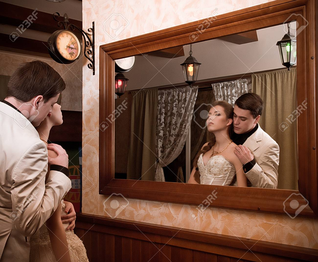 Bride and groom on their wedding day in a luxurious restaurant Stock Photo - 17065674