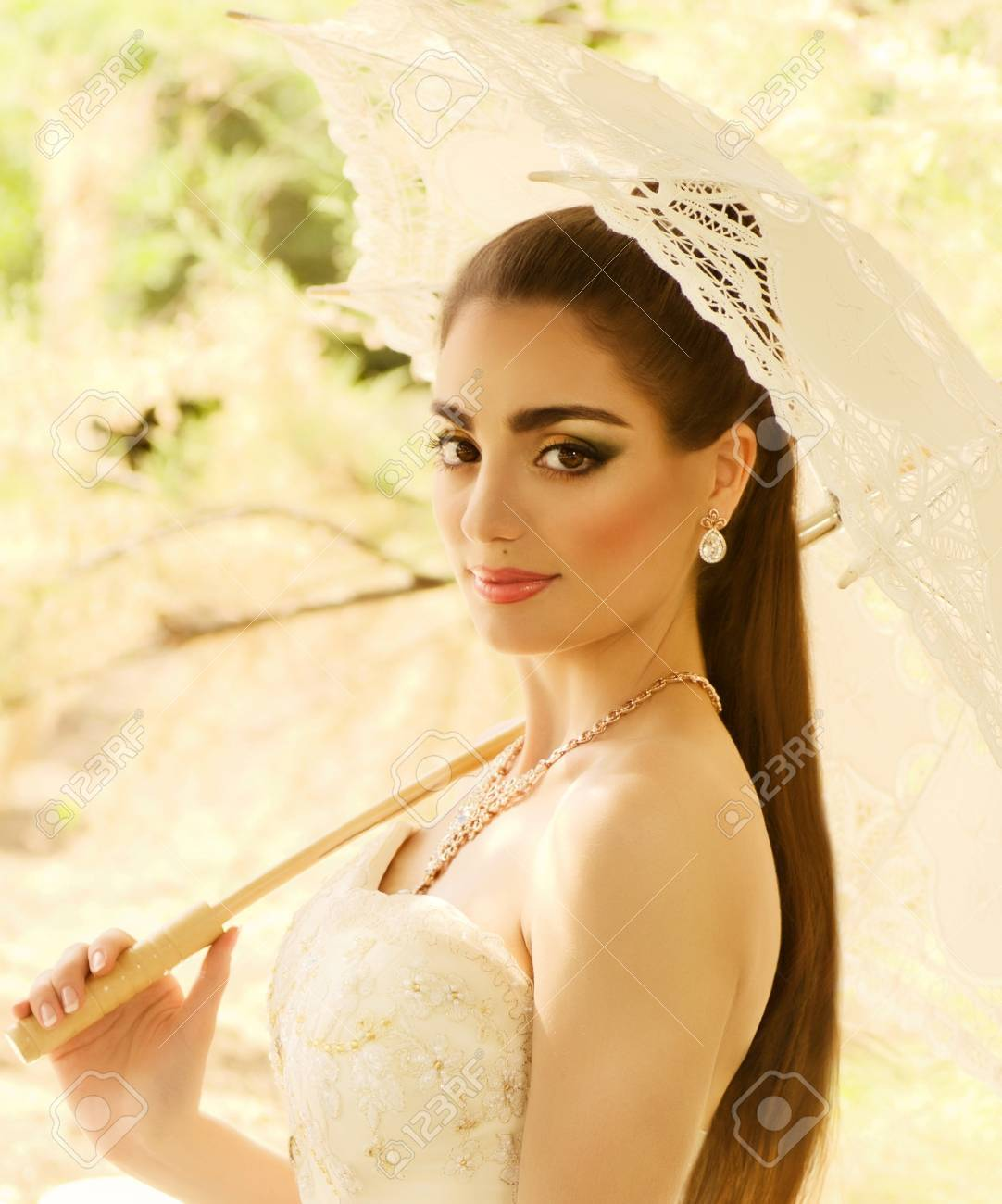 White dress and makeup - Beautiful Bride With Stylish Make Up In White Dress Stock Photo 21364058