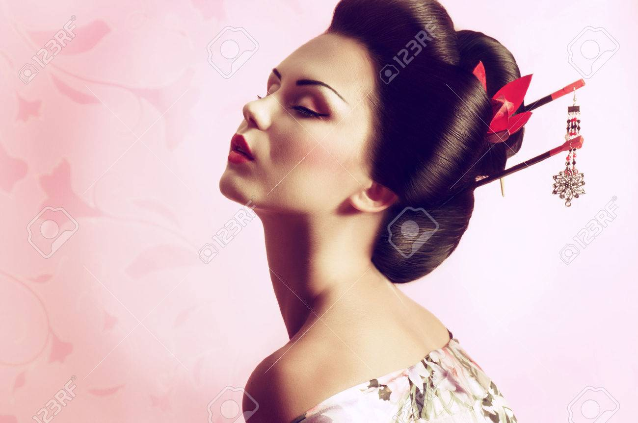 Portrait d'une femme de geisha japonaise Banque d'images - 22612901
