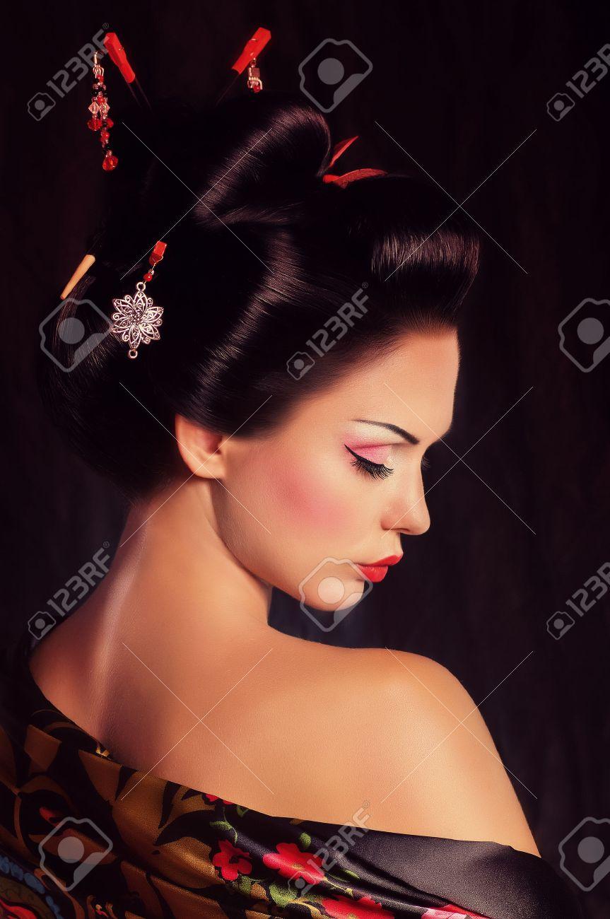 Portrait d'une femme japonaise de geisha Banque d'images - 26655215