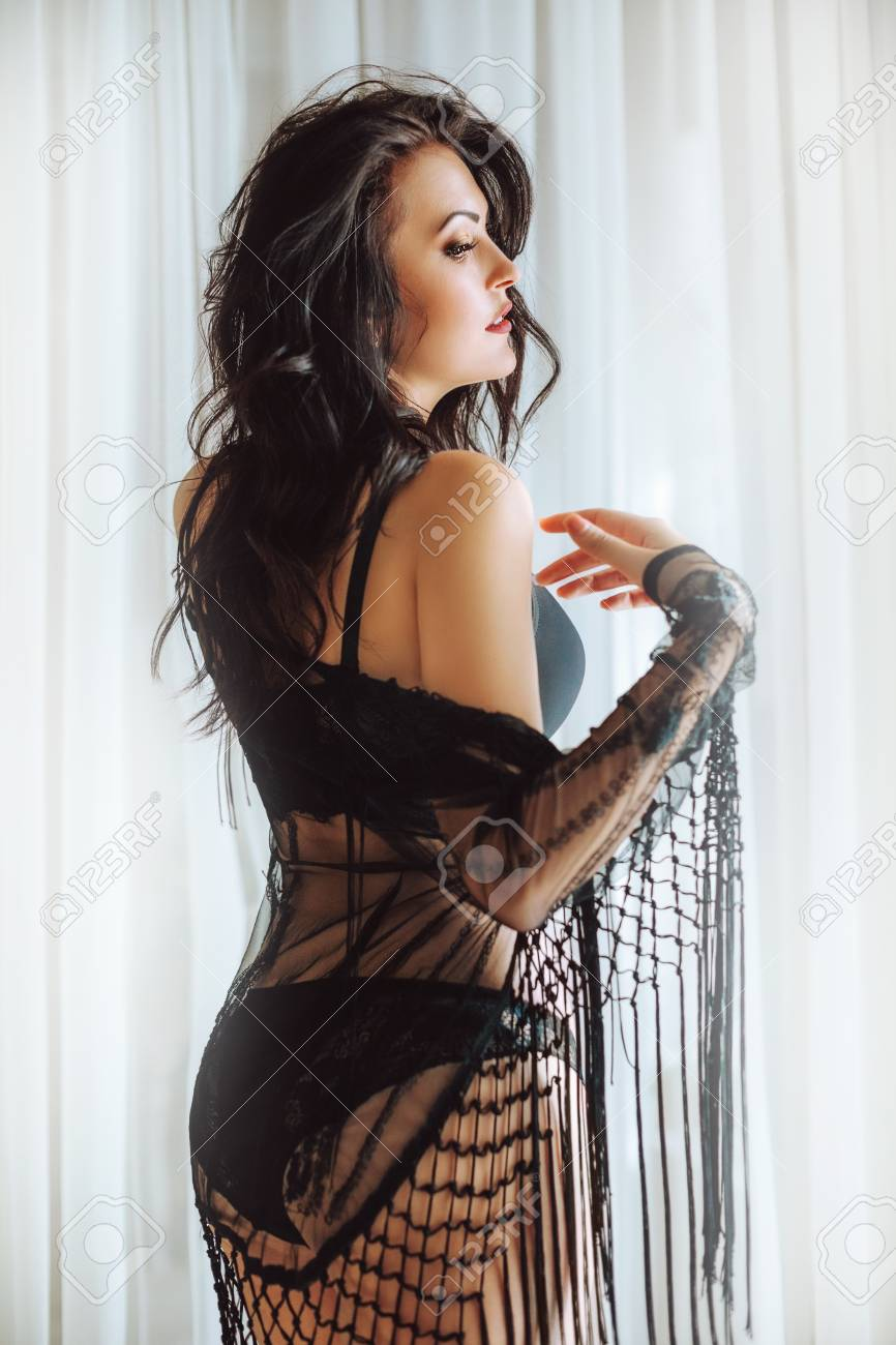 912bb5482c9 Sexy beautiful brunette woman in black underclothes Stock Photo - 110578103