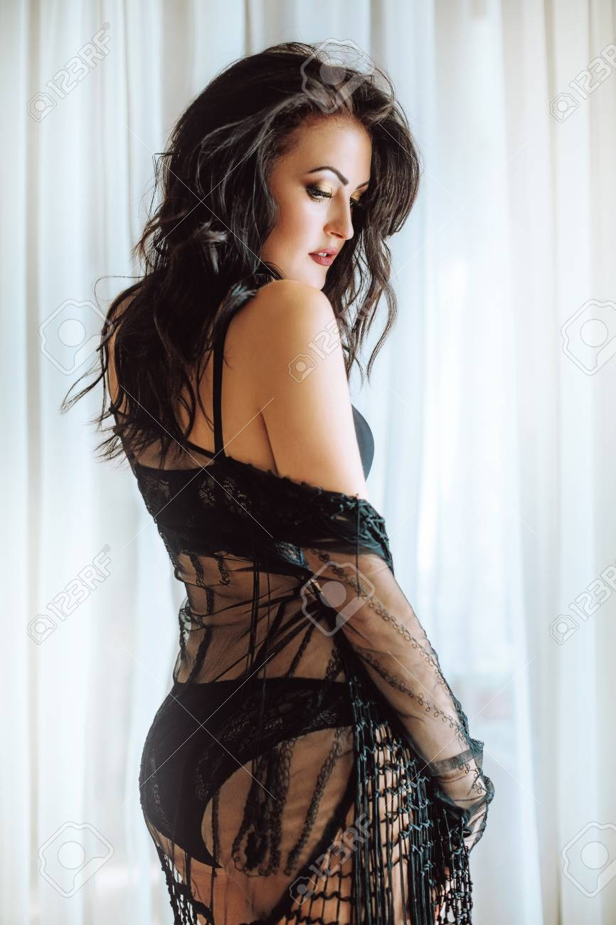 697c9f12d7f Sexy beautiful brunette woman in black underclothes Stock Photo - 110578104