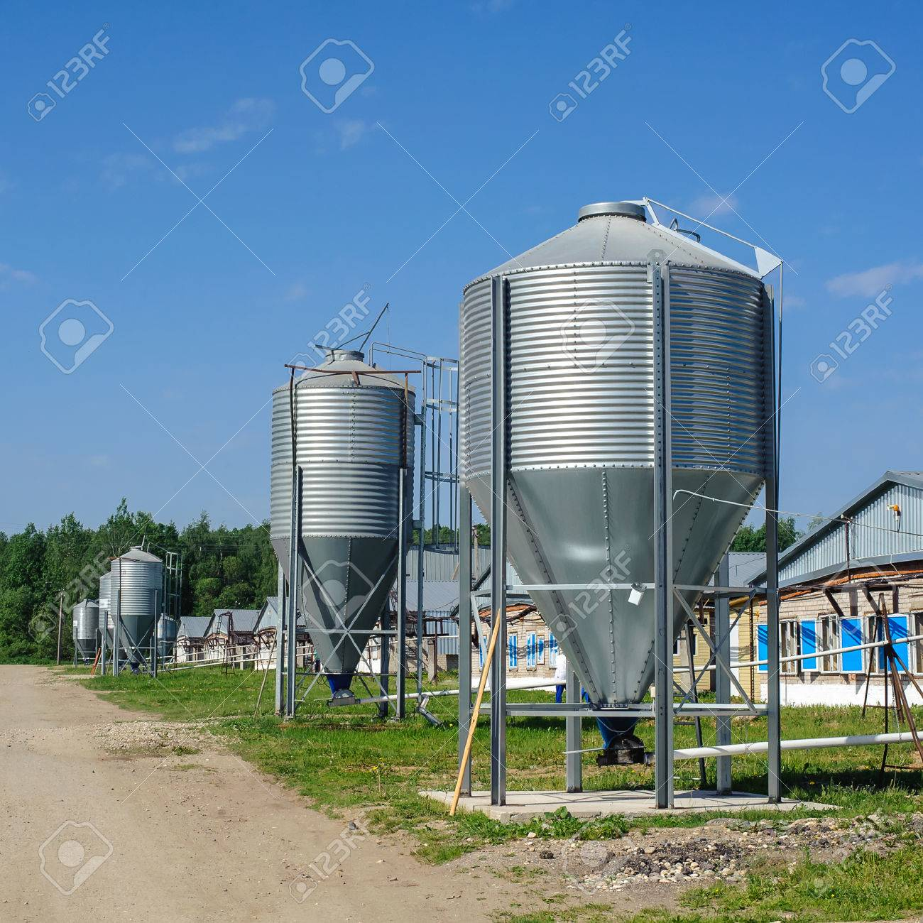 Water Storage Tanks On A Farm In Rural Stock Photo, Picture And ...