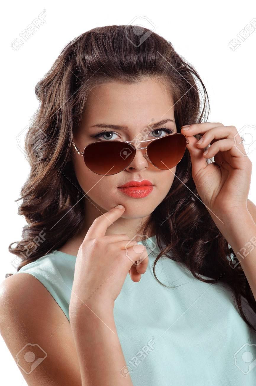 f8c409944e4 Close up stylish image of cute girl wearing sunglasses Stock Photo -  29129205
