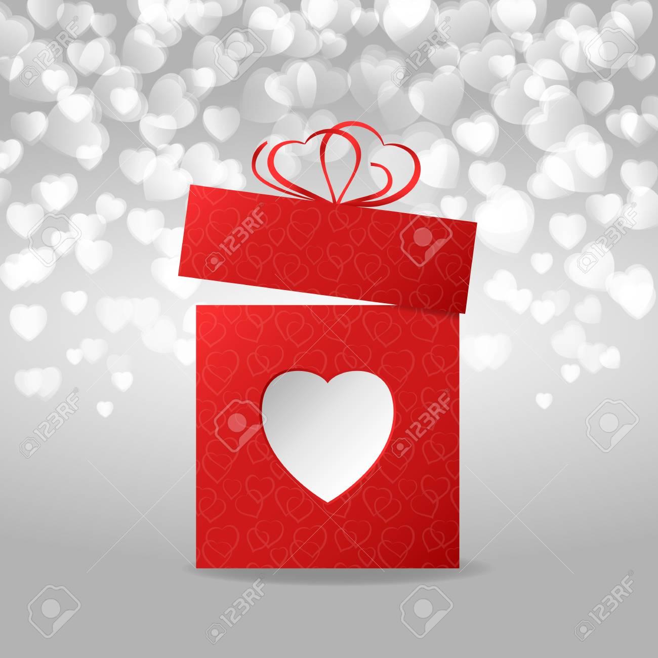 Scatola Regalo San Valentino.Scatola Regalo Rosso A San Valentino Priorita Bassa Del Bokeh Del Cuore Illustrazione Vettoriale