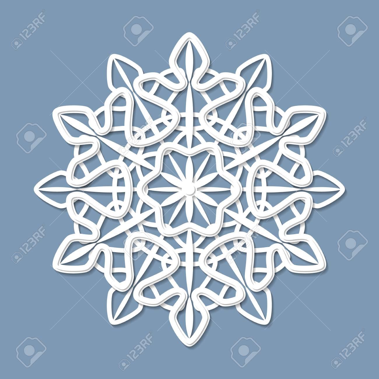 Patrón Calado Simétrico Redondo, Mandala, Copo De Nieve De Encaje ...