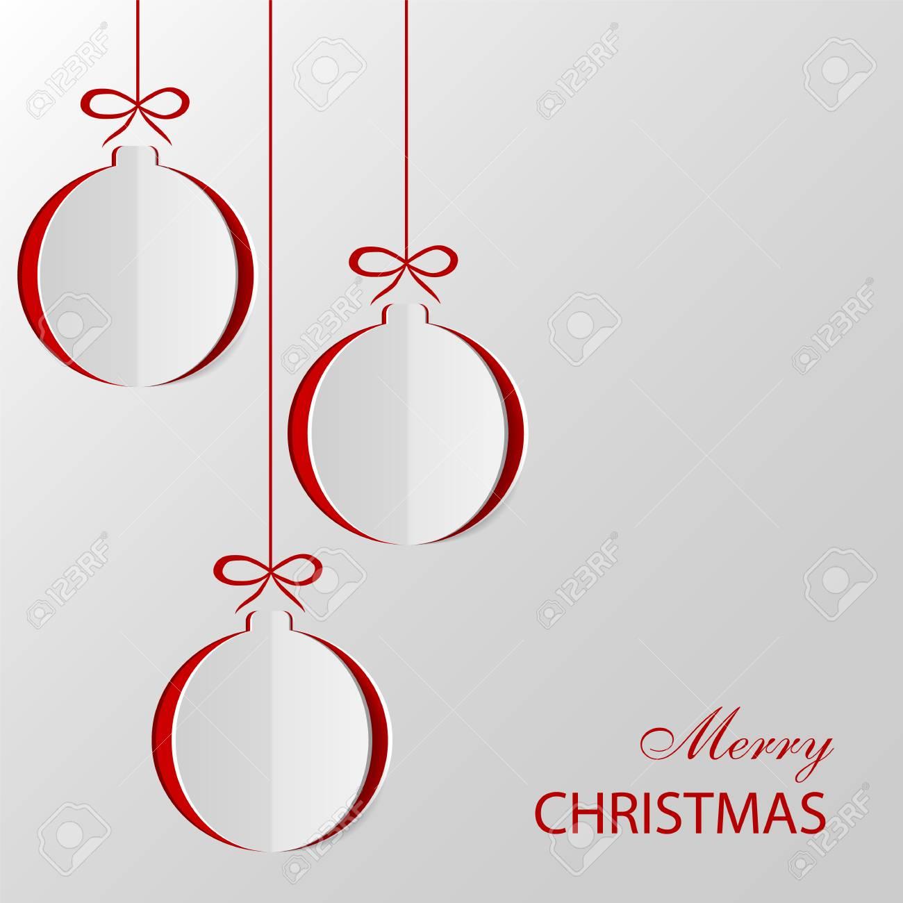 Bolas De Navidad Cortadas De Papel. Plantilla Para Tarjetas De ...