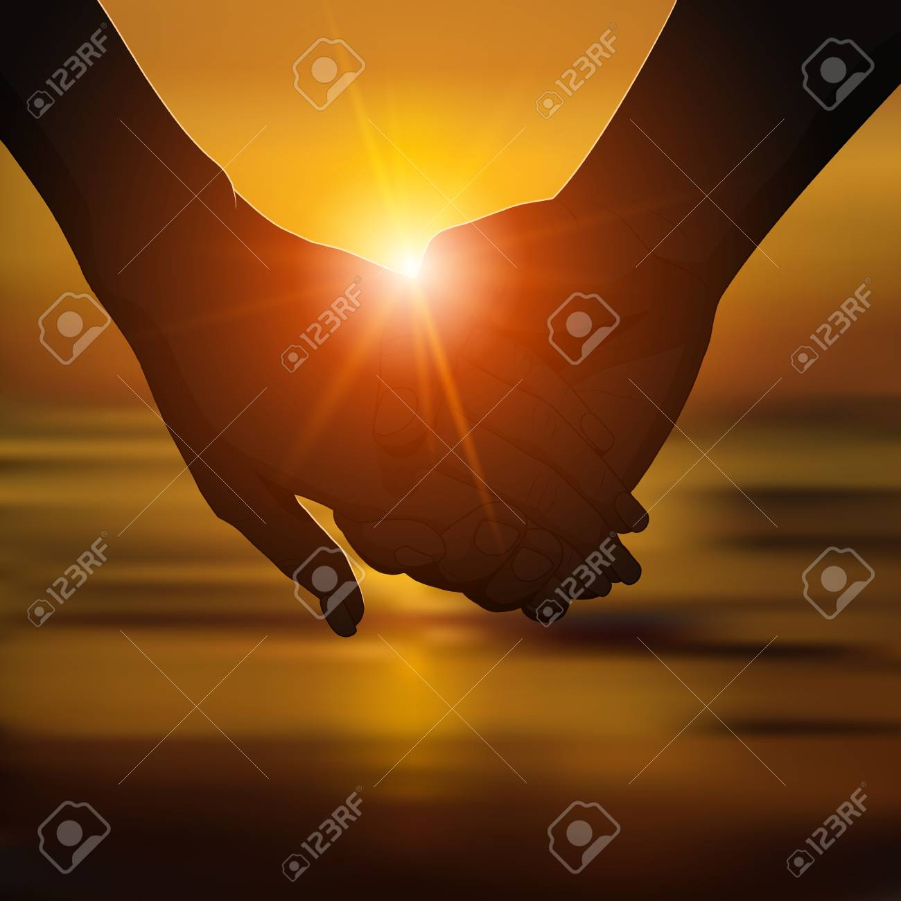 Silhouette Of Romantic Couple S Hands On The Beach At Sunset