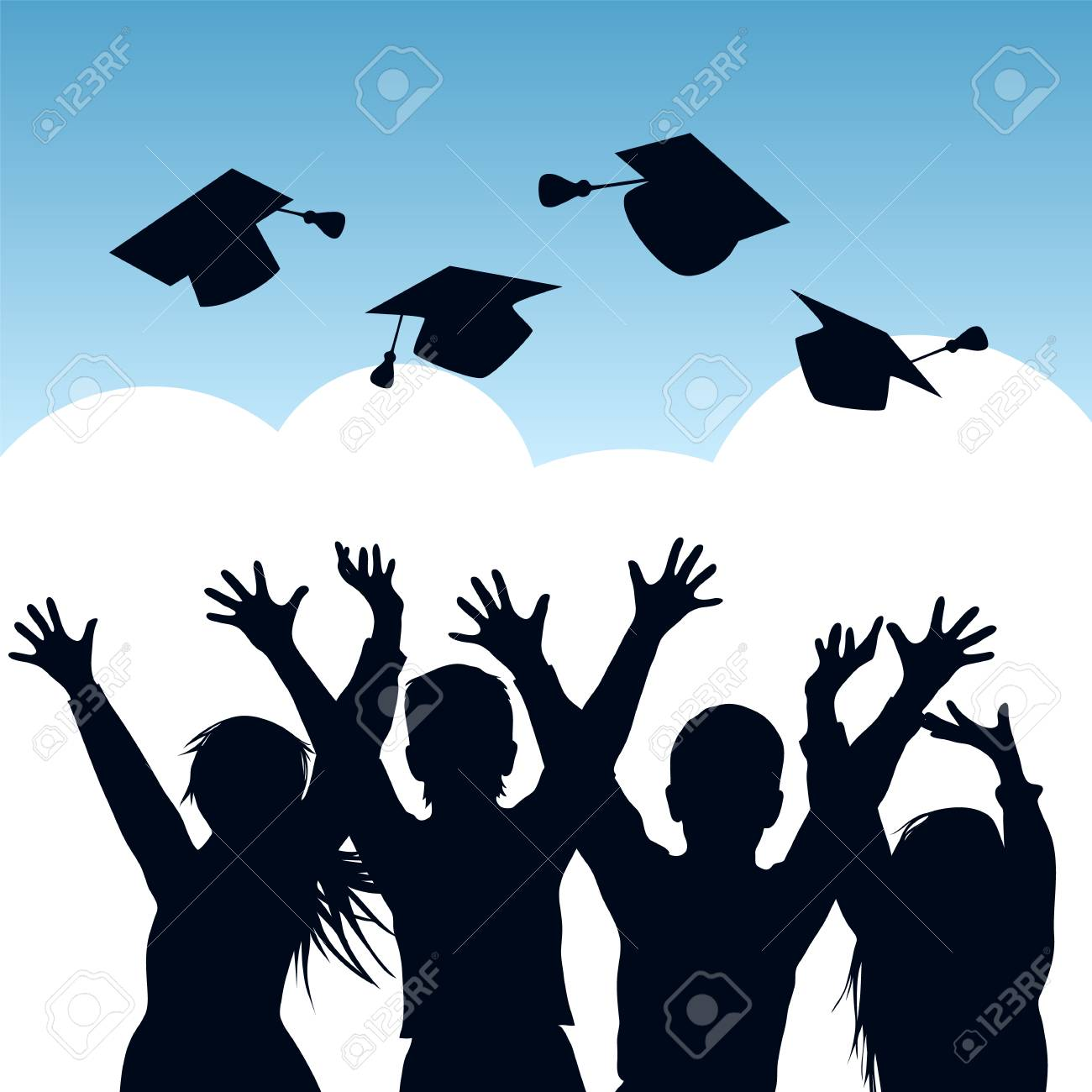 Happy students throwing graduation caps in the air. Silhouettes of graduates. Vector illustration - 100643296