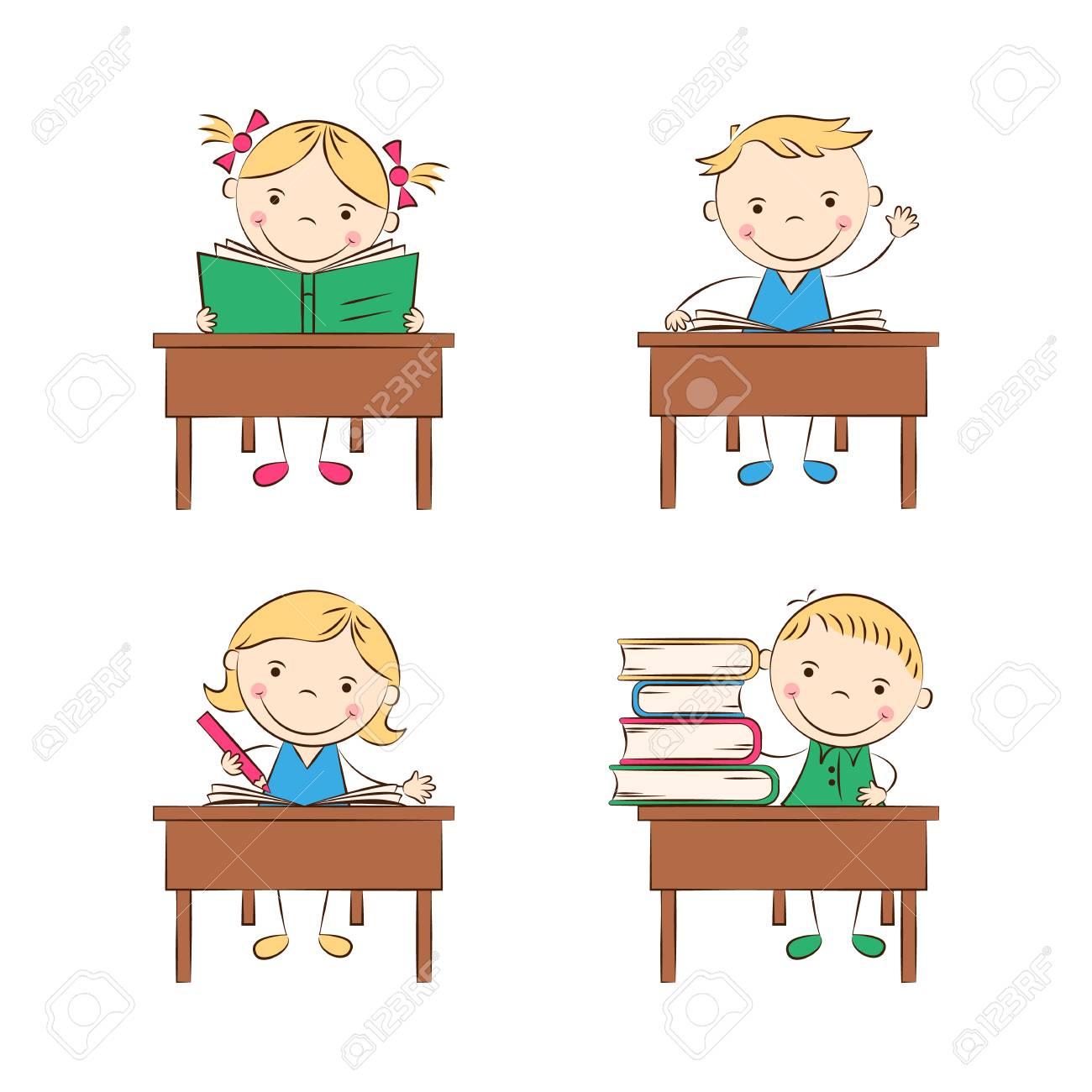 Funny Cartoon Images Of Boys funny doodle kids sit at school desks in classroom. happy cartoon..