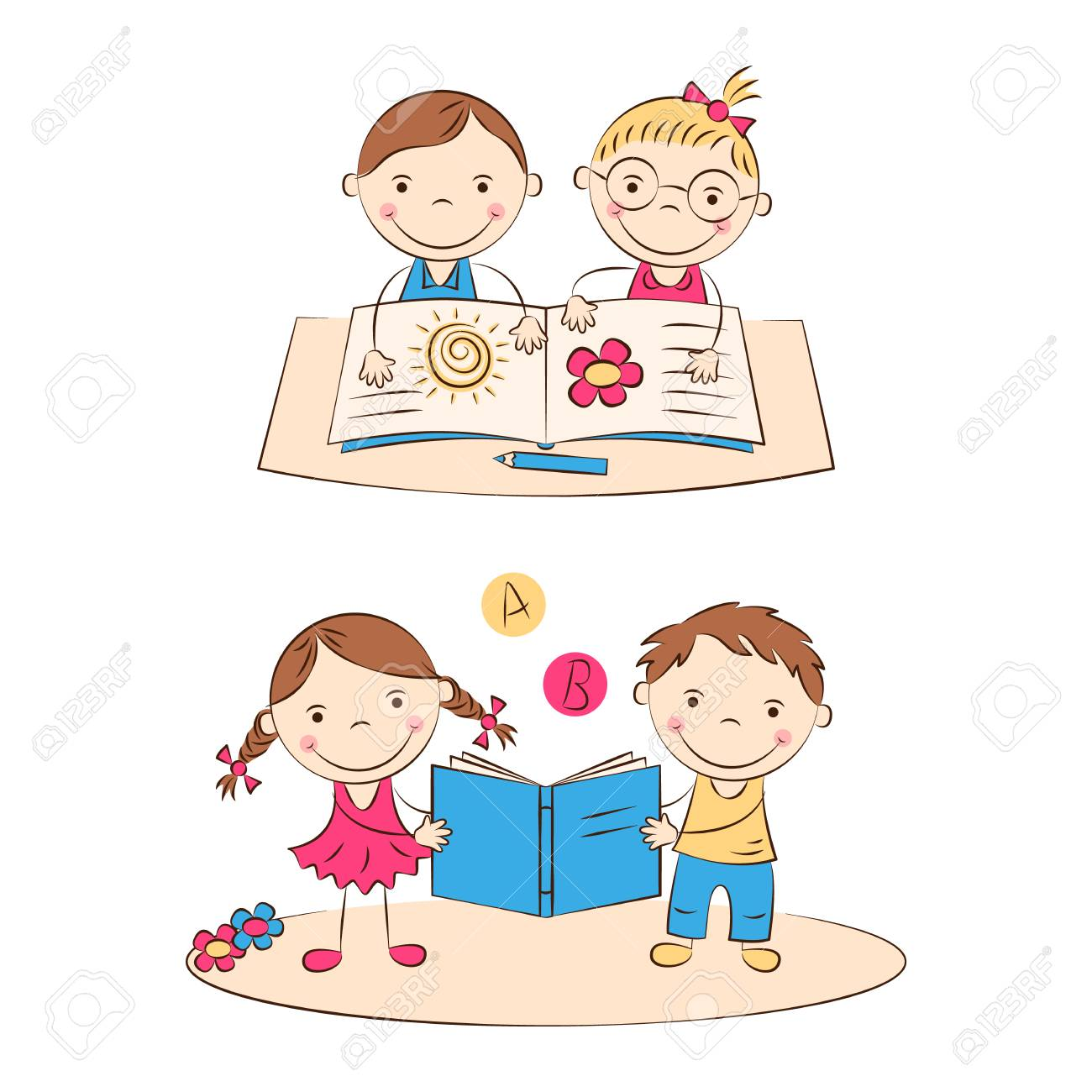 Funny Doodle Kids Read A Book Happy Cartoon Boys And Girls