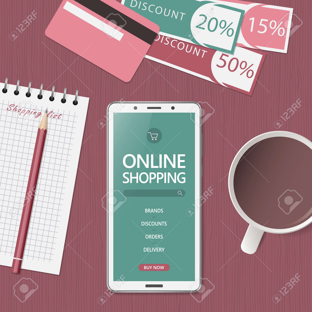 Online shopping concept. Online store website on phone screen. Workspace with smartphone, credit cards and discount coupons. Top view, flat lay. Vector illustration - 155948310