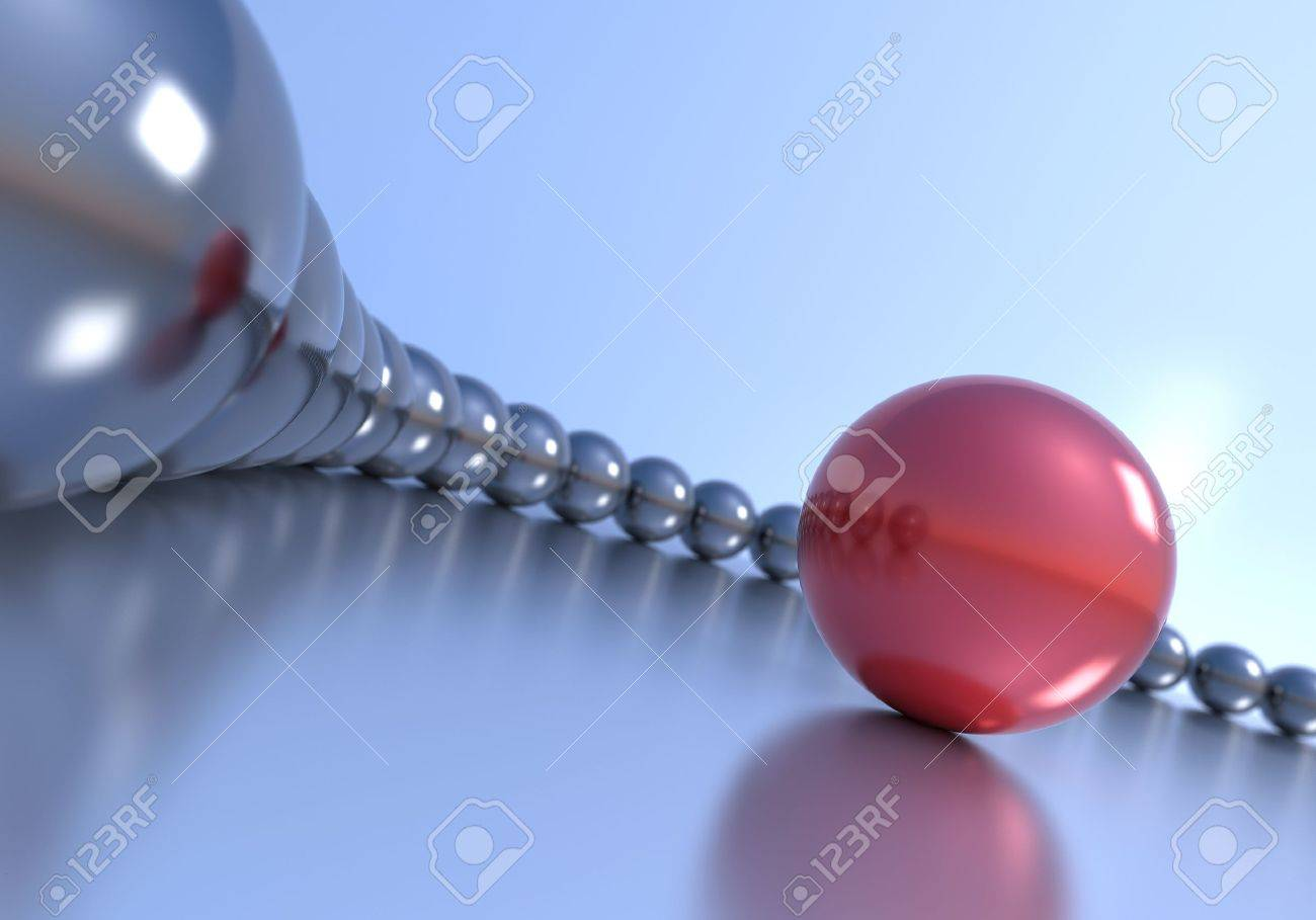 Leadership concept. Red sphere and multiple chrome spheres. Stock Photo - 9135376