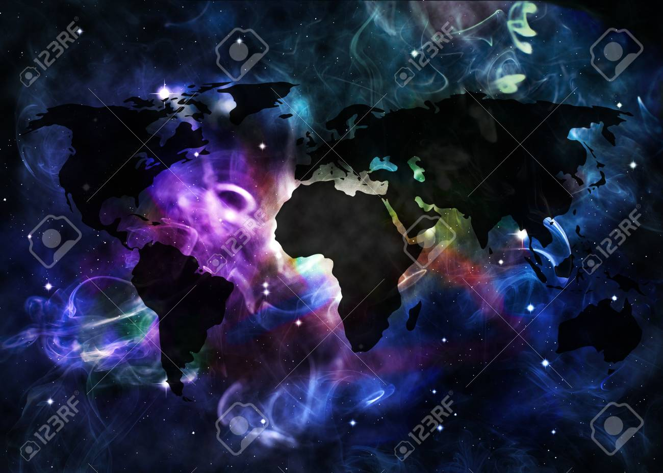 Star Field In Deep Space With The Map Of The World Stock Photo ... on