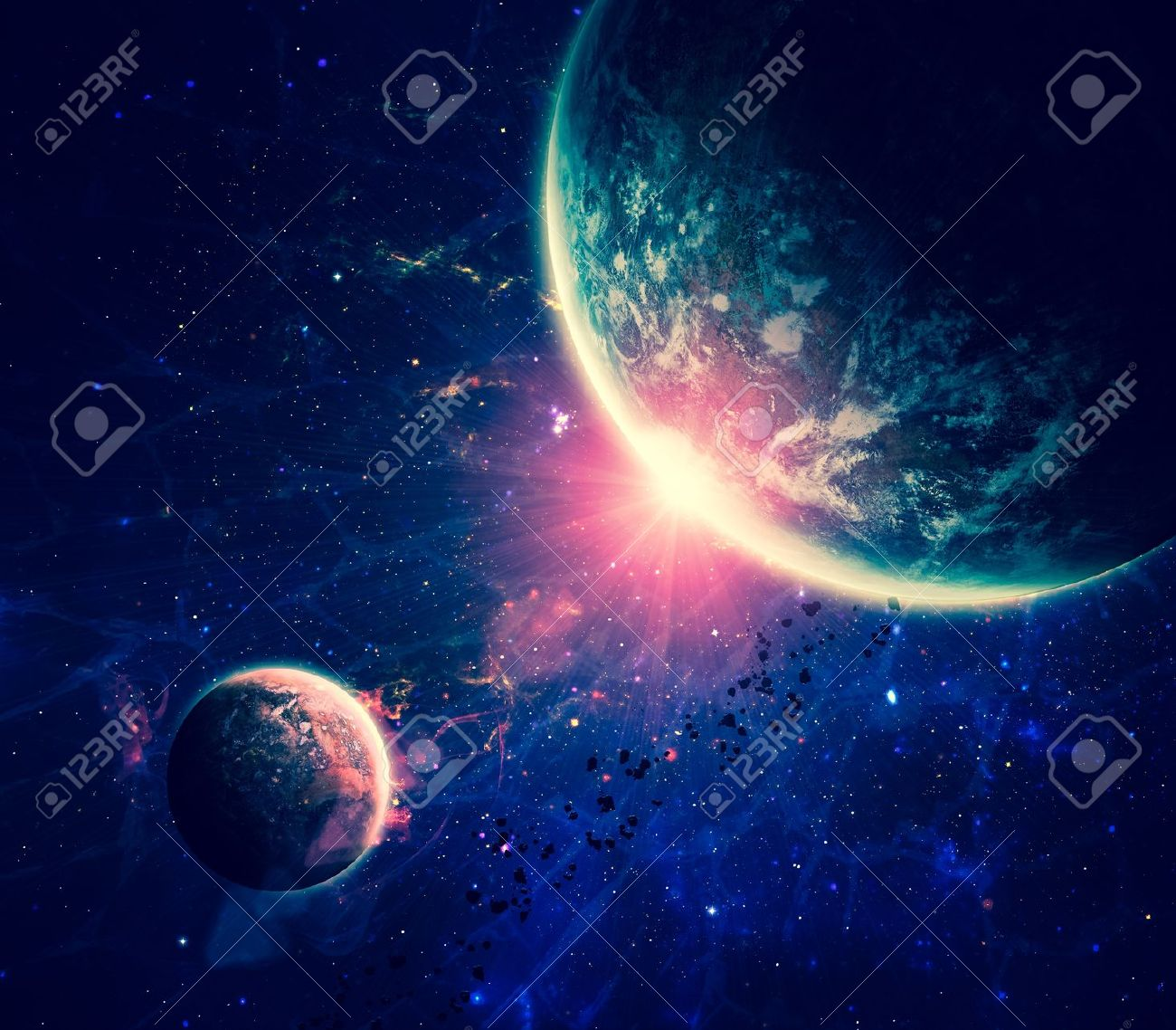 Beautiful Space Background Stock Photo