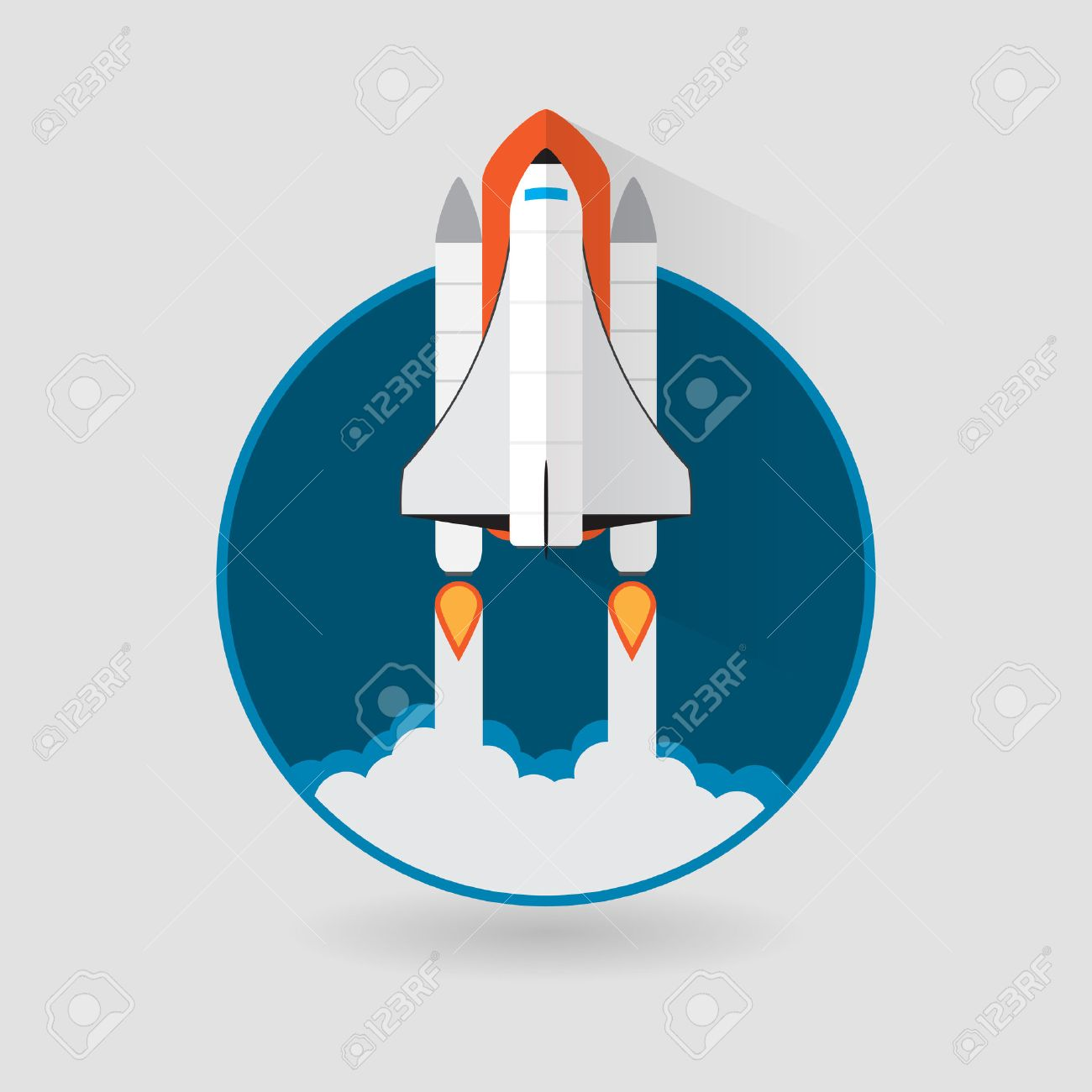 space shuttle launch vector illustration royalty free cliparts rh 123rf com Space Shuttle Outline Space Shuttle in Orbit