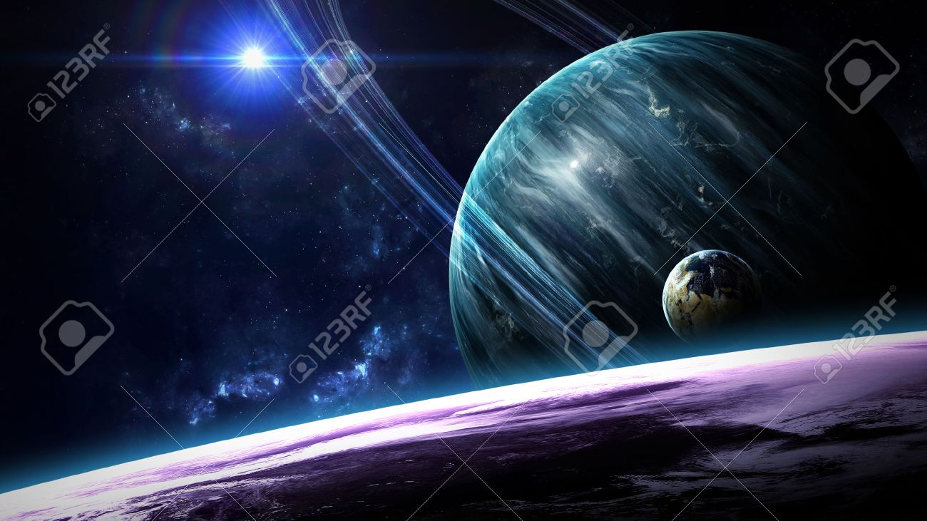 Universe scene with planets, stars and galaxies in outer space showing the beauty of space exploration. Elements furnished by NASA - 50165075