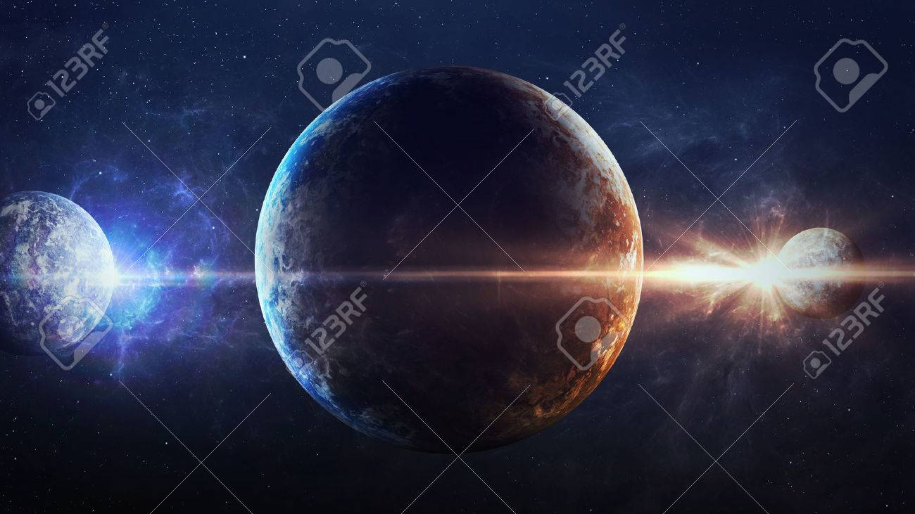 Universe scene with planets stars and galaxies in outer space universe scene with planets stars and galaxies in outer space showing the beauty of space voltagebd Image collections