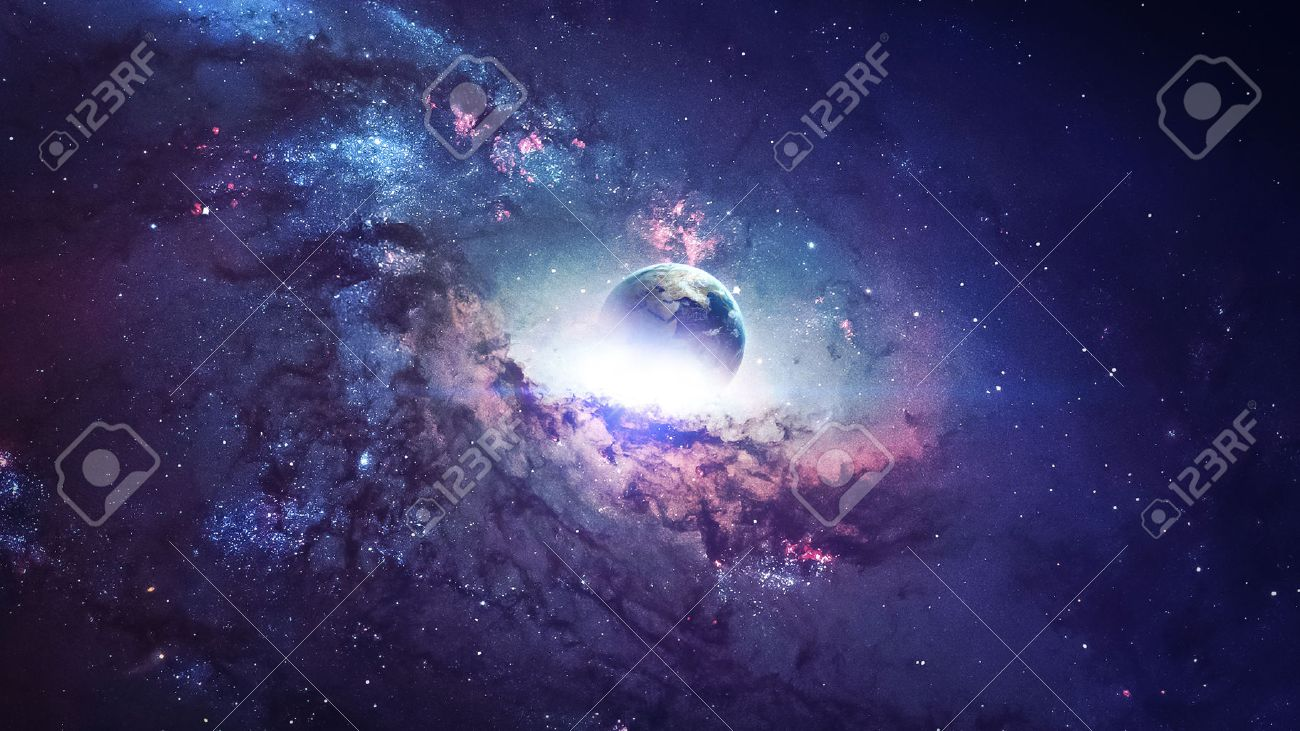 Universe scene with planets, stars and galaxies in outer space showing the beauty of space exploration. - 50422038