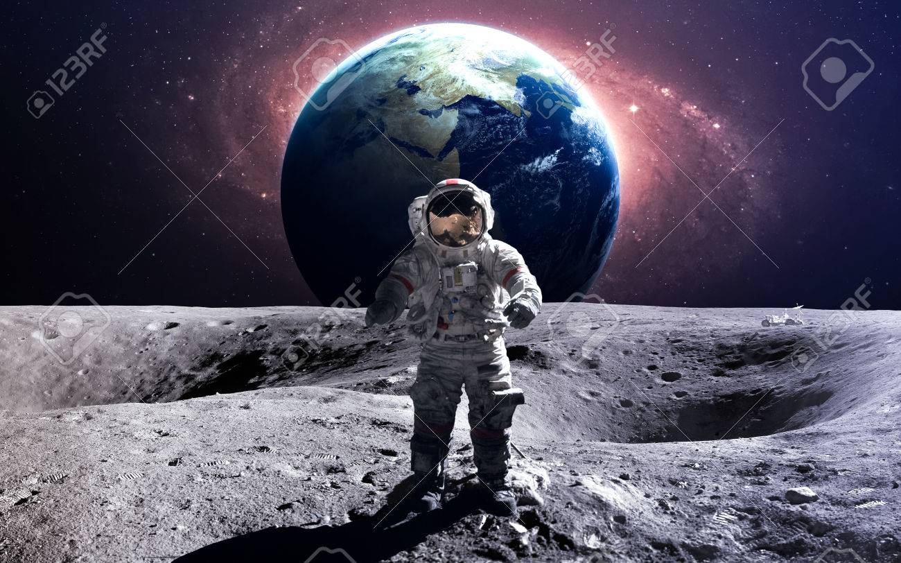 Brave astronaut at the spacewalk on the moon. - 50433047