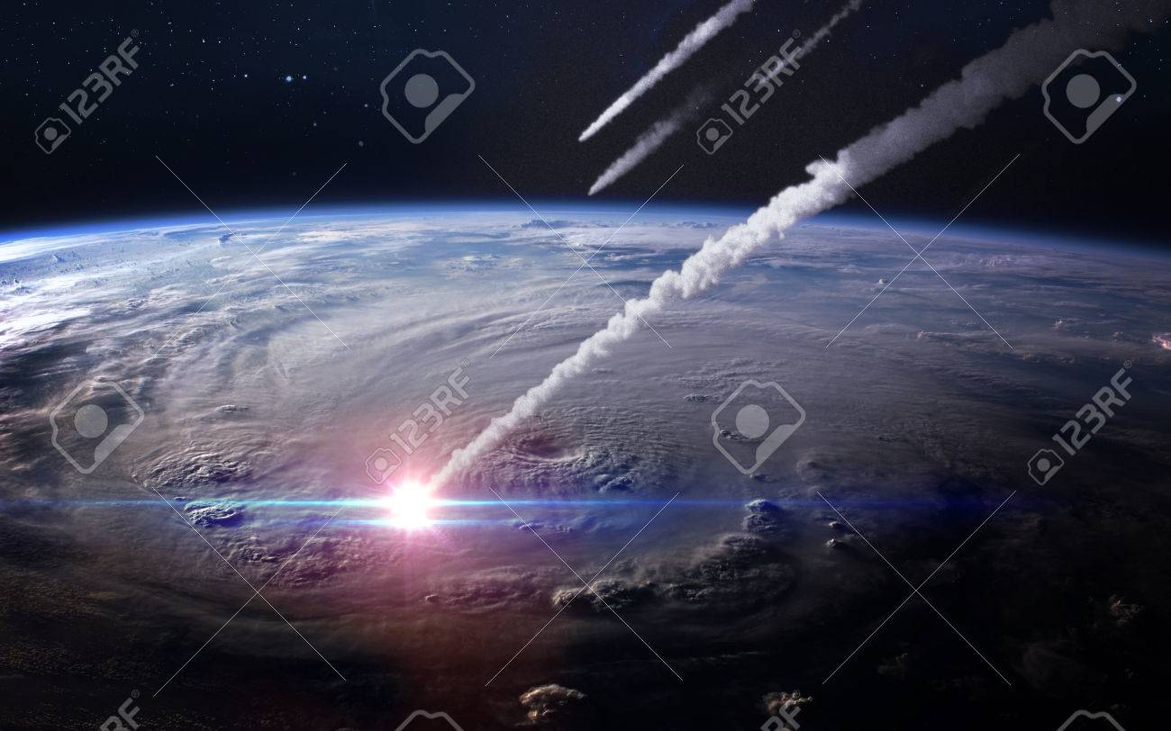 Meteor shower in the Earth's atmosphere. - 54902954