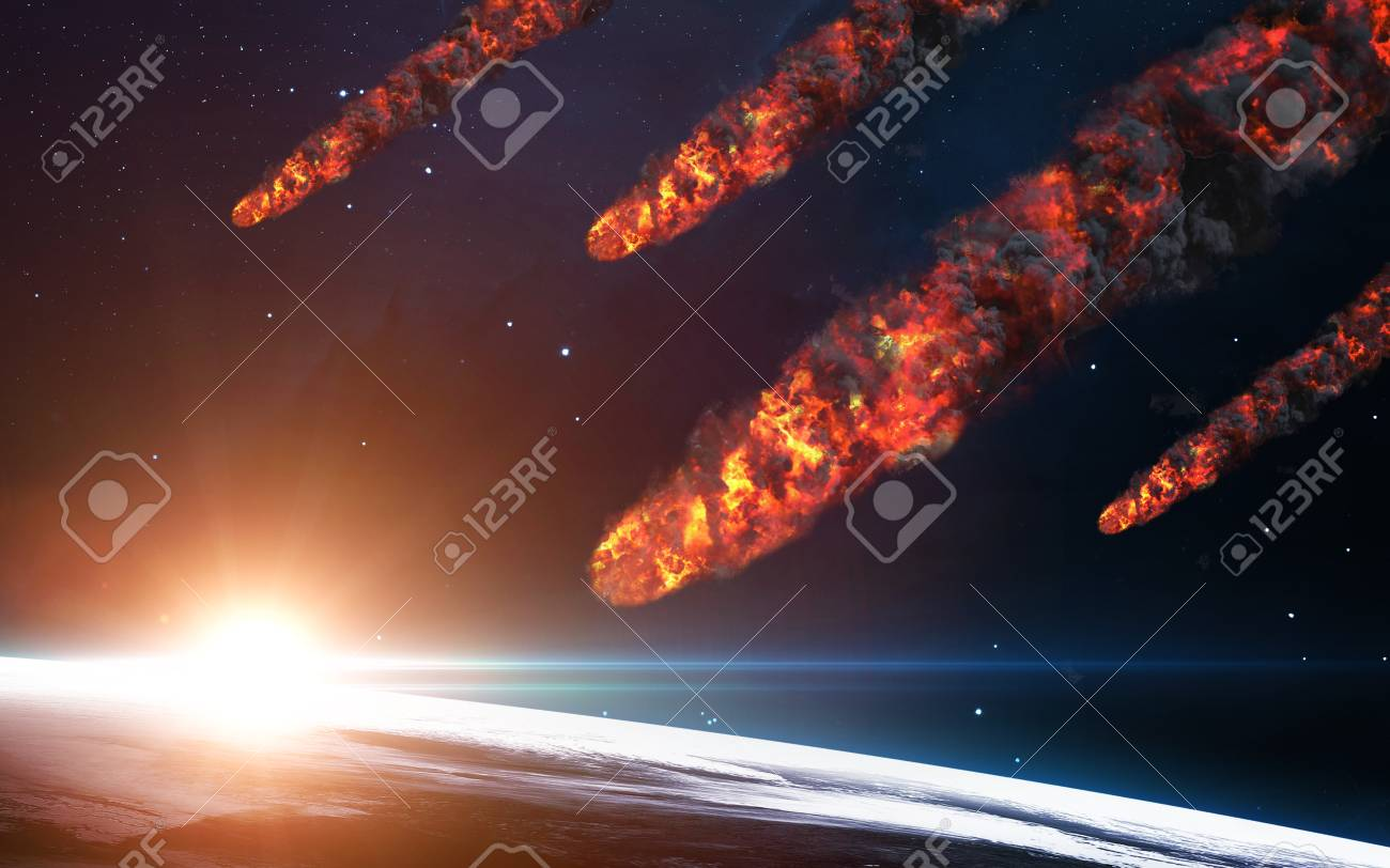 Meteor shower. Elements of this image furnished by NASA - 57670824