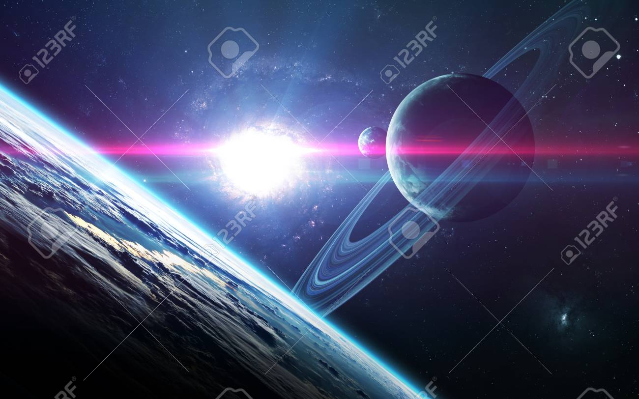 Abstract scientific background - planets in space, nebula and stars. - 62208981