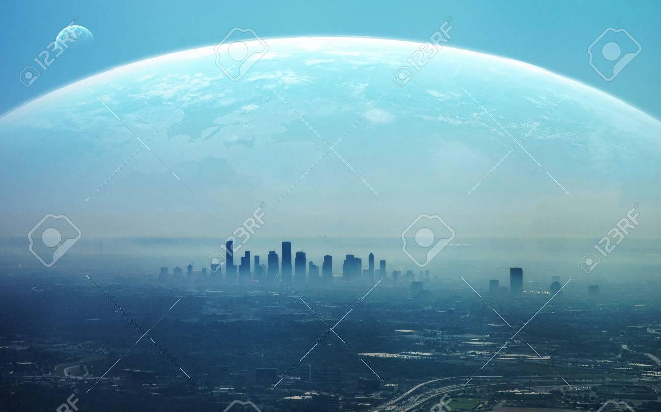 View of Futuristic City. - 62168634